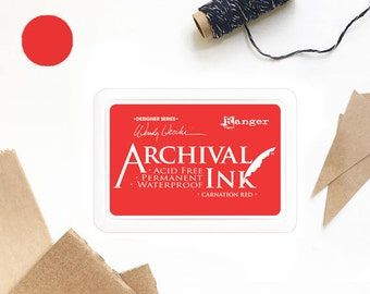 RED ink pad, bright red, carnation red ink pad, Ranger ink pad, ink pad, stamp ink pad, acid free, non-toxic, waterproof, permanent