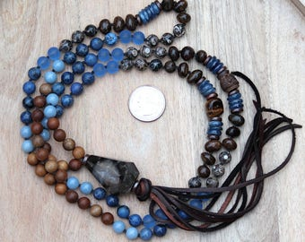 ZenHappy Heirloom Mala Necklace  - Dumortierite, Angelite, Fossil Jasper, Sandalwood and Recycled Beach Glass; One of a Kind Boho Necklace