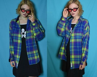 90s grunge neon green and blue plaid flannel shirt jacket