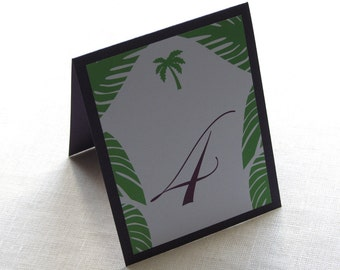 Palm Tree Table Number - Beach Wedding - Tent or Panel Style - Layered 10 Numbers