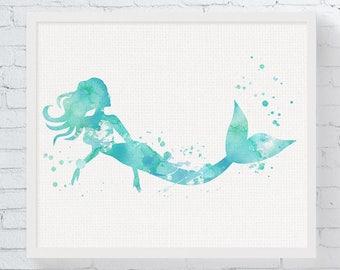 Watercolor Mermaid Print - Mermaid Art - Mermaid Painting - Mermaid Wall Art - Mermaid Nursery Decor - Girls Room Decor, Beach House, Sea,