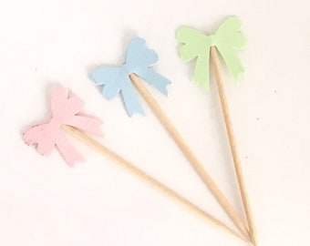 Bow Cupcake Toppers, Appetizer Picks, Custom Colors