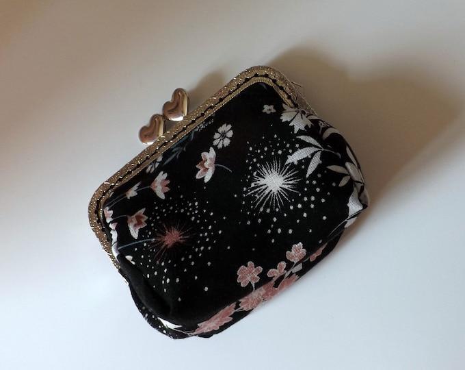 Purse metal clasp black fabric printed flowers, handmade, unique, original gift, idea purse carries cards.