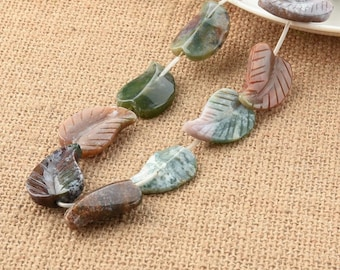 Large Fine Carved Leaf Indian Agate Gemstone Beads 16 Inch Strand 22*30mm