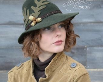 1930's Tilt Fedora Hat, Earthy Green, Oak leaf, Acorn, Fairy Wizard Hat