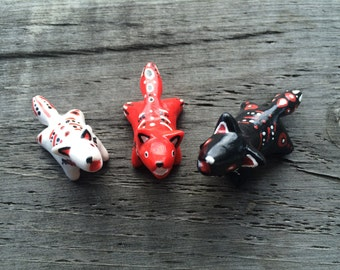 Polymer Clay Black/Red/White Painted Wolf Totems