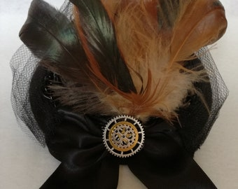 Steampunk Top Hat Fascinator Victorian Cosplay Mini Hat with Gears & Feathers