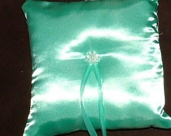 Wedding ring pillow custom made light turquise ring bearer pillow
