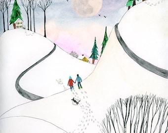 Winter Walk print - 8x10