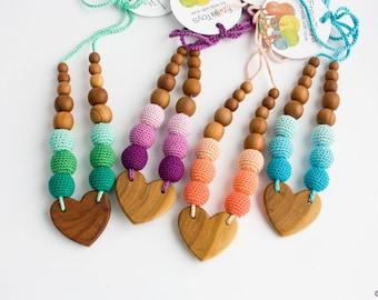 Sweet Heart Nursing Necklace | Apple Wood | Teething Necklace | New Mom Necklace | New Baby Shower Gift | NH01-NH04