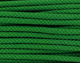 Cotton braided cord / green / width 7mm, 50cm cut