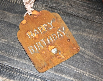 Gift tags, Metal gift tag, Rusty metal tag, Birthday tag, rusty decor, french gift tag, Mediterranea Design Studio, french tag, rustic chic