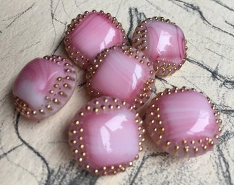 6 Old pink striped glass buttons-high quality work-gold-color hand painted (034)