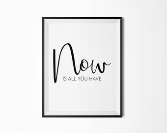 Printable poster,Now is all you have, 5 sizes, Motivational poster, Wall art, Instant download, Scandinavian poster, Minimal wall art
