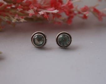Cool Aquamarine Stud Earrings set in Sterling Silver
