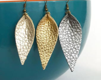 Metallic Leather Leaf Shaped Earrings: Joanna Gaines Inspired Leather Leaf Earrings // Your Choice of Metallic Silver, Gold, Pearl, Leather