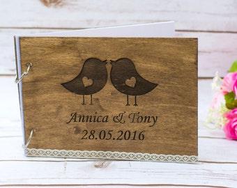 Wedding Guest Book Personalized Wooden Guest Book Love Birds Rustic Guestbook Custom Bride Groom Guestbook pen