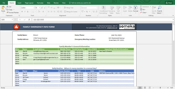 Emergency Contact Form Free Excel Spreadsheet Template