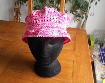 mottled pink cotton crochet Hat