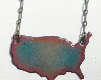 Transparent Amber Red and Aquamarine Enameled America Necklace