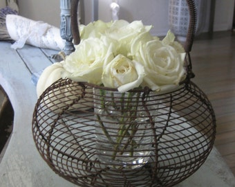 Antique French wire eggs basket