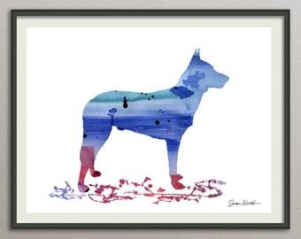 belgian malinois art print watercolor print silhouette print poster wall art decor drawing, dog wall art poster watercolor
