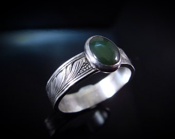 Hand Engraved Art Nouveau Inspired Art Jewelry Sterling Silver Ring With Jade Cabochon