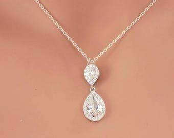 Simple bridal necklace, teardrop necklace, bridesmaid necklace, wedding necklace, swarovski crystal necklace, bridal jewelry wedding jewelry