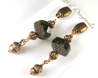 Hammered Copper Post Earrings with Dark Green Wavy Czech Rondelles and Acorns