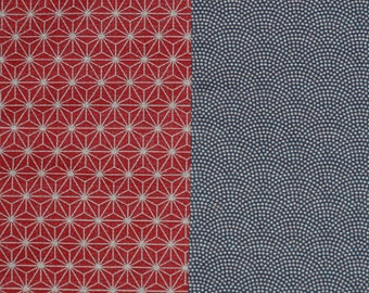 Reversible Furoshiki Two-Sided Blue/Red 'Hemp Leaves & Waves' Cotton Japanese Fabric w/Free Insured Shipping
