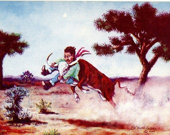 Necking the Baby – Western L. H. Dude Larsen Vintage Postcard 1941 (unused)