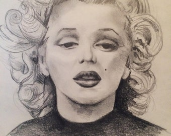 Marilyn Monroe pencil sketch drawing on A4 paper