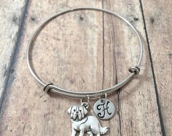 Saint Bernard initial bangle - St Bernard jewelry, dog breed jewelry, St Bernard jewelry, dog breed bracelet, silver Saint Bernard pendant