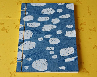 Hand Stitched Notebook - Cloud Screenprint Pattern