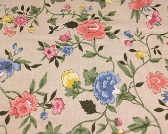 "Vintage - 1980 House & Home  ""Quincy"" Bright pink yellow and blue Vining flowers on medium light weight beige cotton"