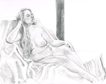 Seated Female Nude Figure Drawing
