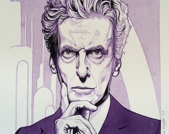 Limited edition Art Print of Peter Capaldi (Dr Who) from the original watercolour/gouache painting by Chris Naylor