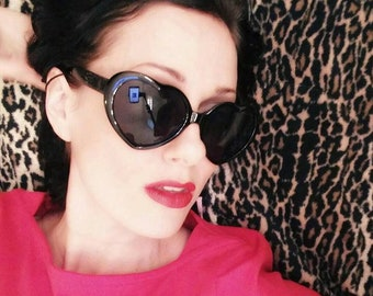 Black HEART Shaped Retro Sunglasses, Vintage Inspired PIN UP sunnies!  By Hardley Dangerous Couture of Los Angeles, Lolita Shades Sunglasses