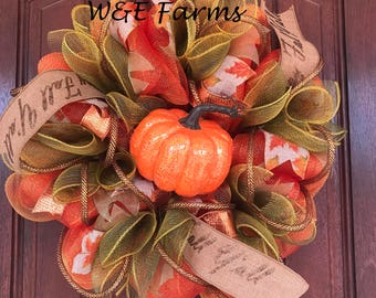 Fall Pumpkin Wreath, Happy Fall Ya'll, Fall Decor, Ready to Ship