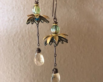 Chandelier earrings with citrine