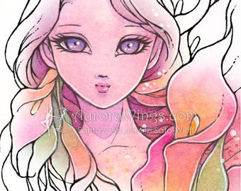 Digital Stamp - Calla Lily Sprite (Big Eye) - Fairy with Calla Lilies - Fantasy Line Art for Hand Made Cards & Coloring by Aurora Wings