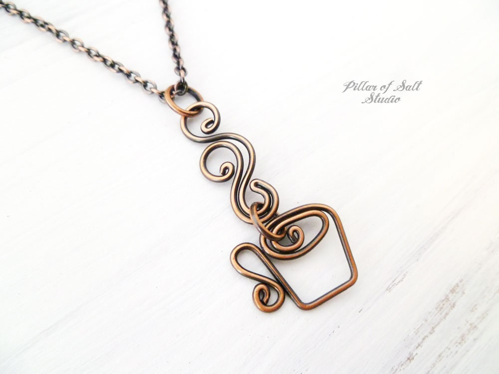 Coffee Necklace copper wire wrapped jewelry handmade