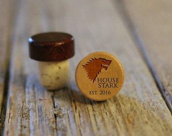 BEST PRICE ** Lot of Personalized Custom Wine Stopper Laser Engraved Cork Bottle Topper Reusable Rustic Wedding Favor --WS-L-Stark