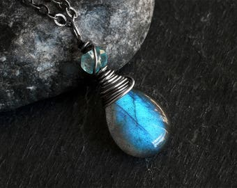 Labradorite Necklace - Labradorite Jewelry - Blue Topaz Necklace - Oxidized Sterling Silver Necklace - Natural - CircesHouse