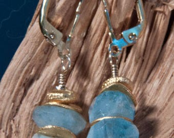Aquamarine Earrings with gilded 925 silver