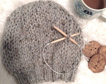 Gray Tweed Extra Slouchy Knit Hat, Beret, Pale Grey Slouch Tam Beanie