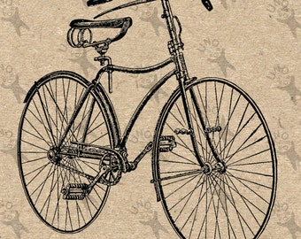 Vintage Bicycle retro drawing image Instant Download printable picture Black and White clipart digital graphic for  decor, print etc 300dpi