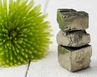 3 Raw PYRITE Cubes - Natural Shape Fools Gold, Protection Stone, Pyrite Crystal, Natural Pyrite Stone, Pyrite Stone, Healing Stone E0874