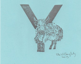 Yak Y Monogram Linocut - Alphabet typographic Print with Animals, Y is for Yak
