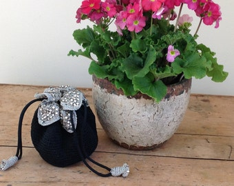 1940s Hand Crocheted Reticule Black and Silver Drawstring Bag with Rhinestone Accents